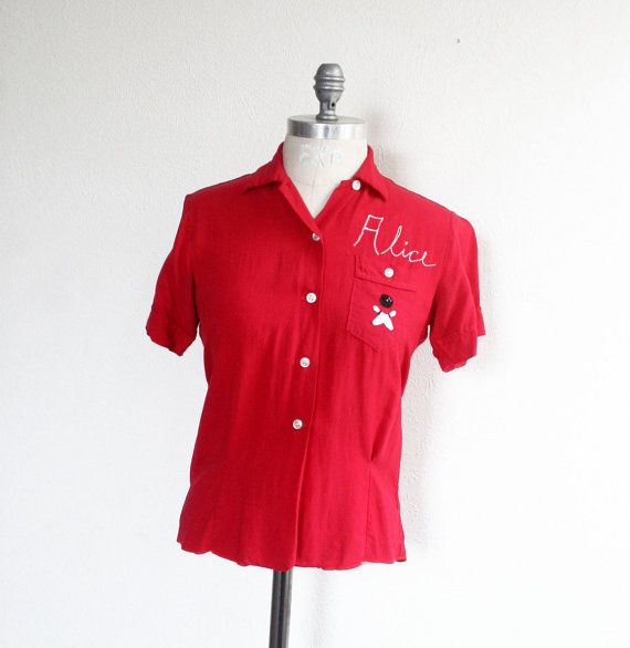 vintage bowling shirt / ladies bowling shirt / 1950s by dingaling, $48.00