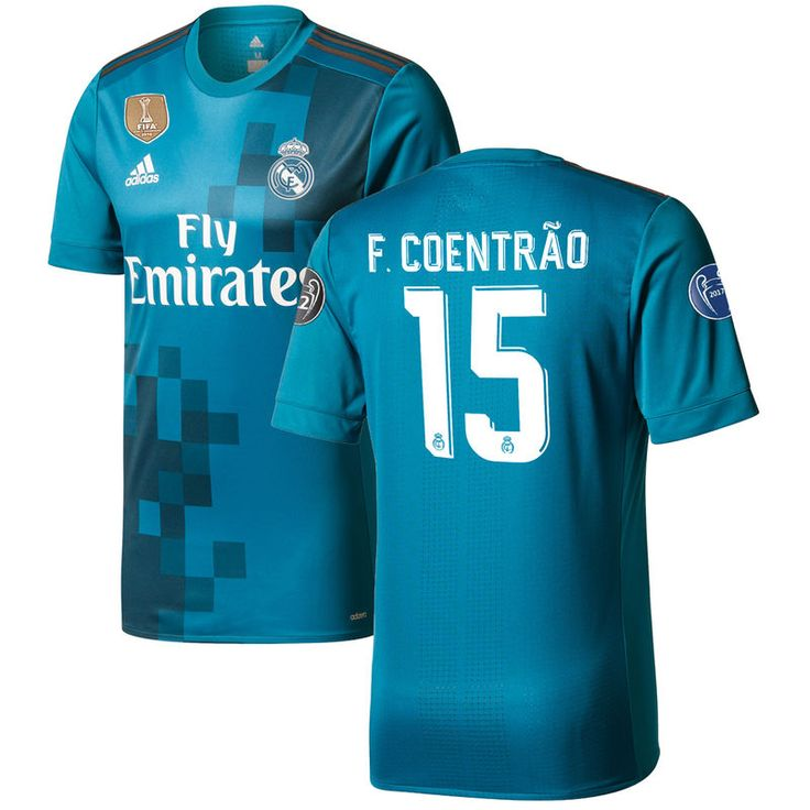 Fabio Coentrao Real Madrid adidas 2017/18 Third Authentic Jersey - Teal