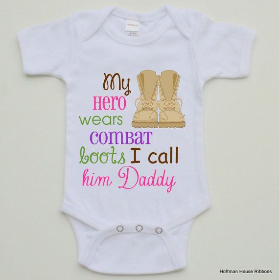 Military Combat Boots Baby Girl Onesie by TheMonogramMaker on Etsy, $14.90
