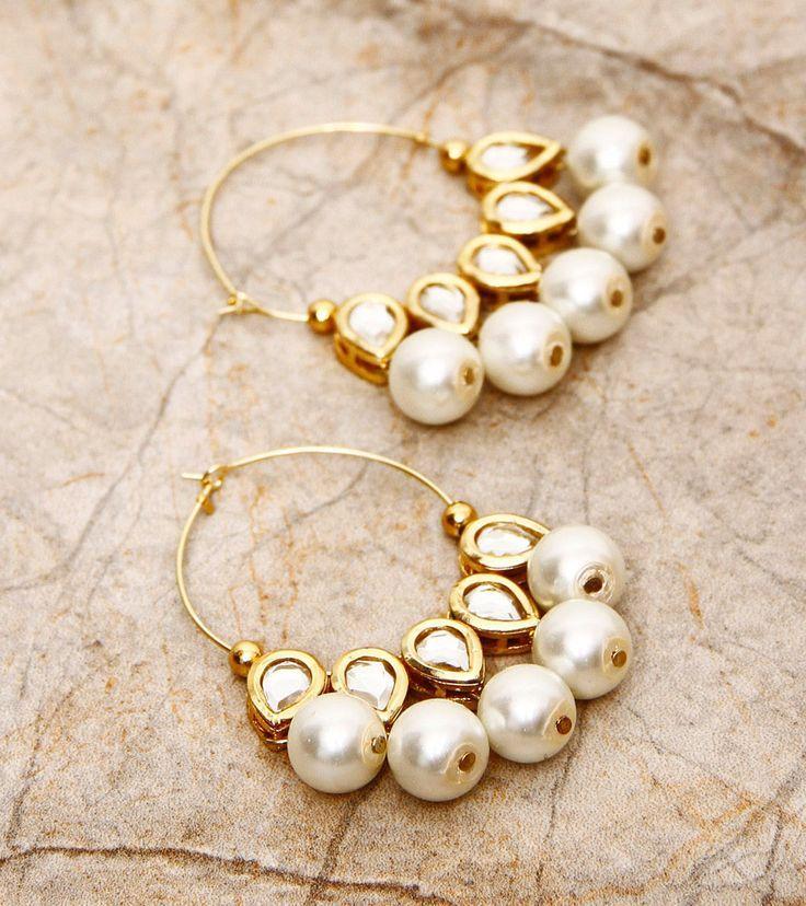 Golden Embellished Earrings #IndianJewellery