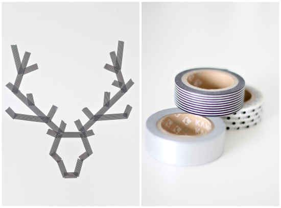 Make wintry wall designs with washi tape.