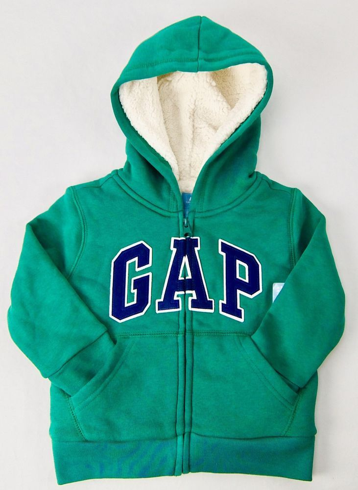 c7b5ac4ef Baby Gap Boys Logo Hoodie Sweatshirt Sherpa Lined Green Blue White Size 2T  3T #Gap #Jacket #Everyday