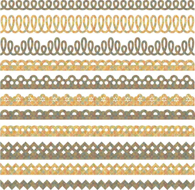 3 lalaloopsy, hostess cupcake loop borders, 7 plain lace scallop and daisy borders, plus zigzag/ricrac Free SVG Borders
