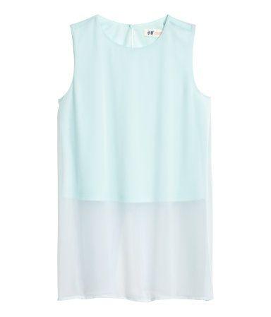 Mouwloze blouse van chiffon   Lichtturkoois   Kinderen   H&M NL