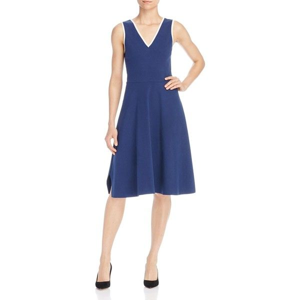 Tory Burch Gemma Fit-and-Flare Dress featuring polyvore, women's fashion, clothing, dresses, royal navy, blue fit and flare dress, deep plunge v neck dress, low v neck dress, tory burch dresses and deep v neck dress