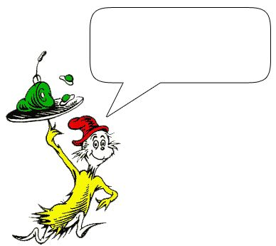 Dr. Seuss characters with speech bubbles