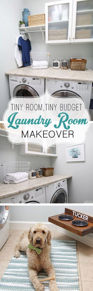 Small Laundry Room makeover on a budget. See tips and ideas to make your laundry room more functional and beautiful.