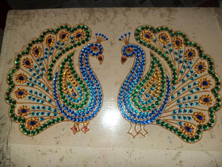 Kundan rangoli, peacock design,  A4 size,for sale.