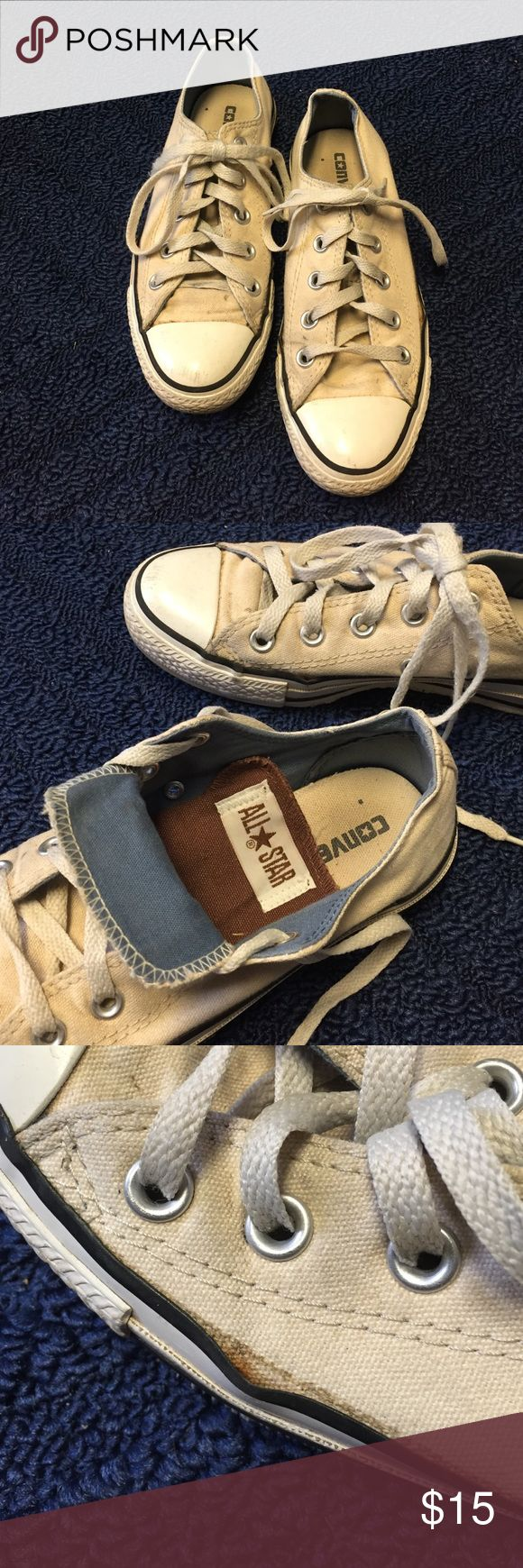 Off-white low top converse (double tongued) Off-white converse with a double tongue. I've never folded the tongue down and forgot they were double tongued. So cute and versatile! They're too small for me so they're pretty lightly worn. Sort of dirty though; worst flaws/smudges pictured. Converse Shoes Sneakers