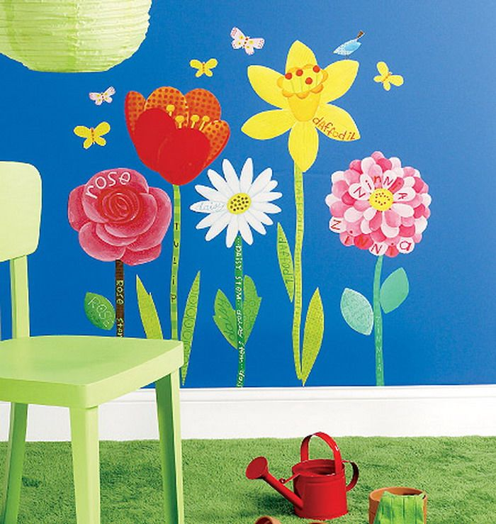 Flower garden painting mural murals pinterest for Mural flower