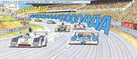 """Porsche 936 in MICHEL VAILLANT """"Sa plus belle victoire"""" (1988). Author: Jean Graton"""