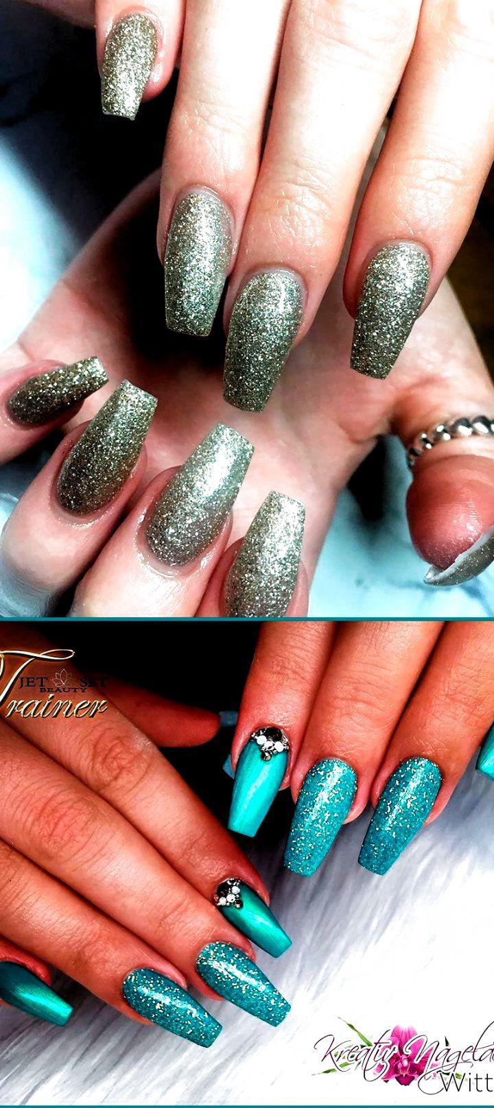 Amazing coffin shaped glitter nails ideas! #fall nails ...