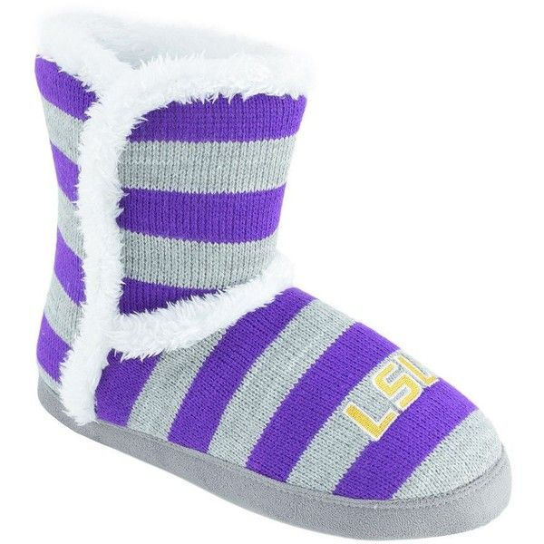 Women's LSU Tigers Striped Boot Slippers ($22) ❤ liked on Polyvore featuring shoes, slippers and team