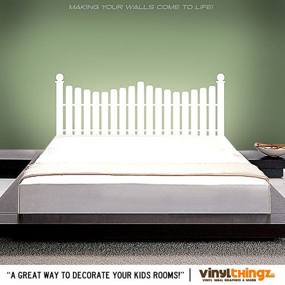 Double Full size headboard decal - Picket Fence - Headboard Wall Decal -  Twin bed vinyl wall decals - home decor bedroom romovalble - Best 25+ Picket Fence Headboard Ideas On Pinterest Fence
