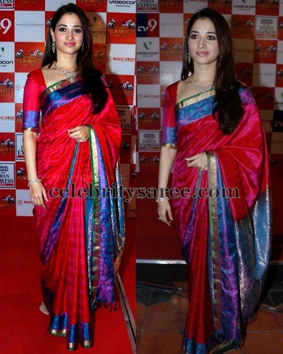 09b07a79c9d8c Tamanna Red and Blue Silk Saree
