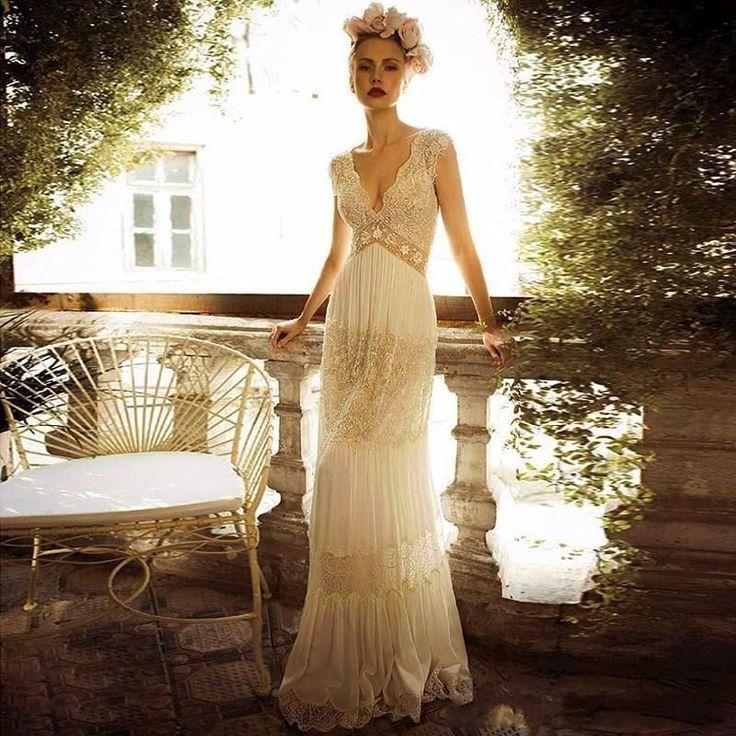 Details about vintage lace wedding dress white ivory for Lace sheath wedding dress vintage