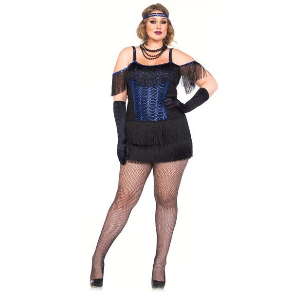 blue black 2 piece gatsby flapper plus size costume ($54) ❤ liked on Polyvore featuring costumes, blueblack, plus size costumes, womens plus costumes, plus size flapper costume, blue flapper costume and plus size womens costumes