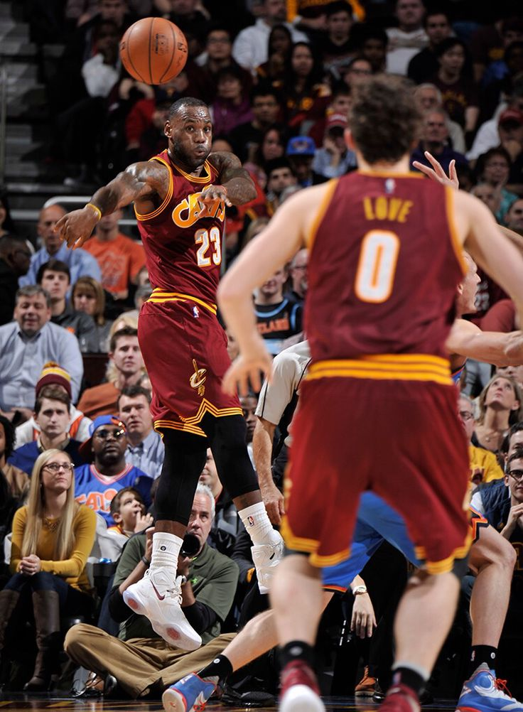 LeBron fires a pass 12/17/15 to Kevin Love!  Cavs beat OKC 100 to 104!!!