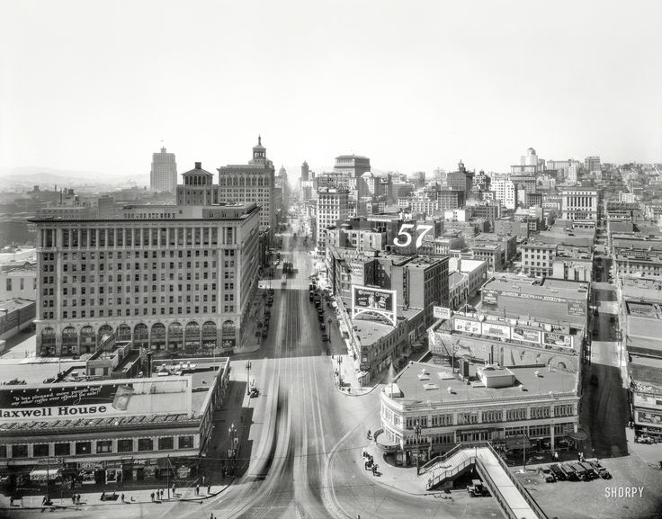 """San Francisco ca. 1926. """"Market Street from Ferry Building."""" Shorpy Historic Picture Archive"""
