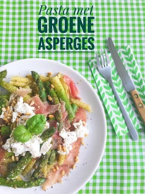 pasta met groene asperges