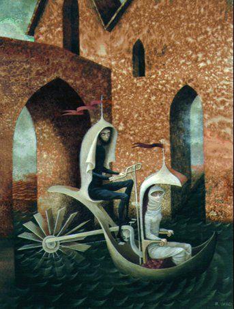 """""""Taxi Acuatico"""" - Remedio Varo, canvas, 1962"""