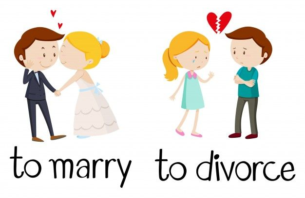 Opposite words for marry and divorce Free Vector