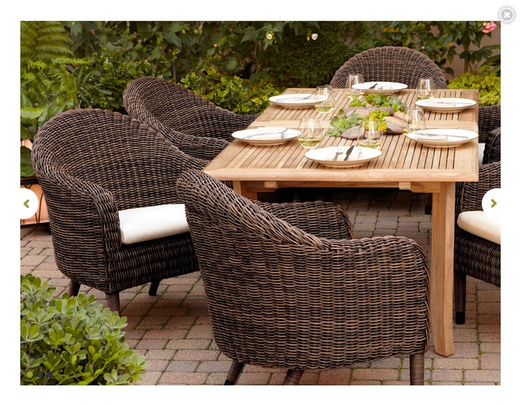 Wicker Outdoor Dining Chairs With Wood Table