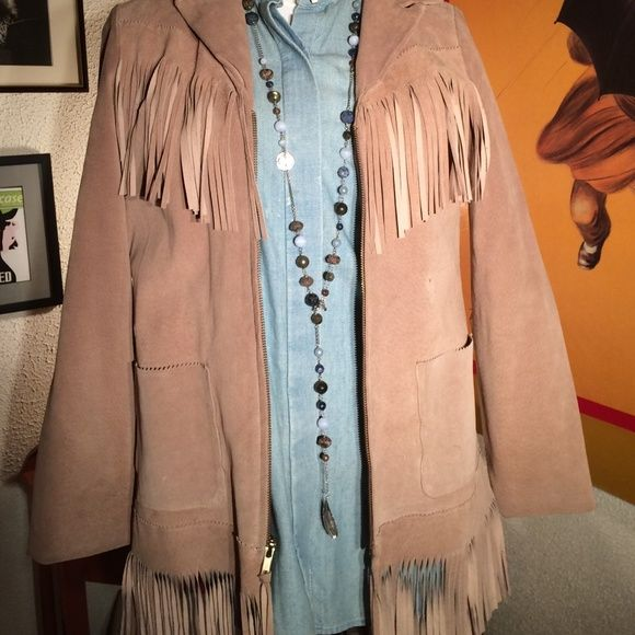 ABS Vintage fringed suede jacket This is it! If you've been yearning for a fringed suede jacket this one is awesome. Been sitting in closet for years. A couple tiny marks taken very close up that naturally blend in or on inside of fringe and are barely noticeable see photo and can probably be cleaned. Great vintage condition. This is a vintage item please ask all questions before purchasing. ABS Allen Schwartz Jackets & Coats