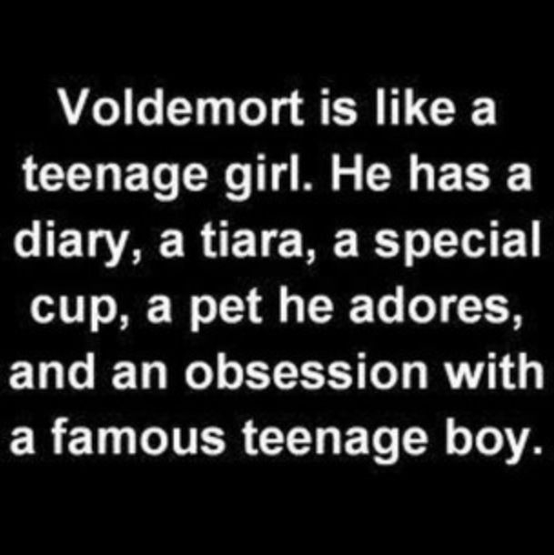 Harry Potter humor. Because Voldy Moldy carries every resemblance to a teenage girl. :) he even looks like some of them.