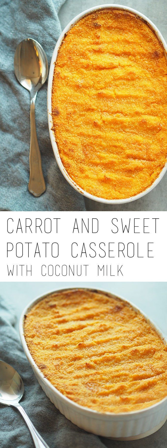 Carrot and sweet potato casserole with coconut milk - traditional Finnish Christmas food #porkkanalaatikko