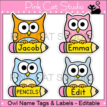 Owl Name Tags and Editable Labels: These fun owl name tags and labels will look fantastic in your classroom! This set is so versatile because you can make any labels that you want with the included blank labels and editable Powerpoint file. These would make great bin or basket labels, job cards, flash cards and of course name tags. By Pink Cat Studio