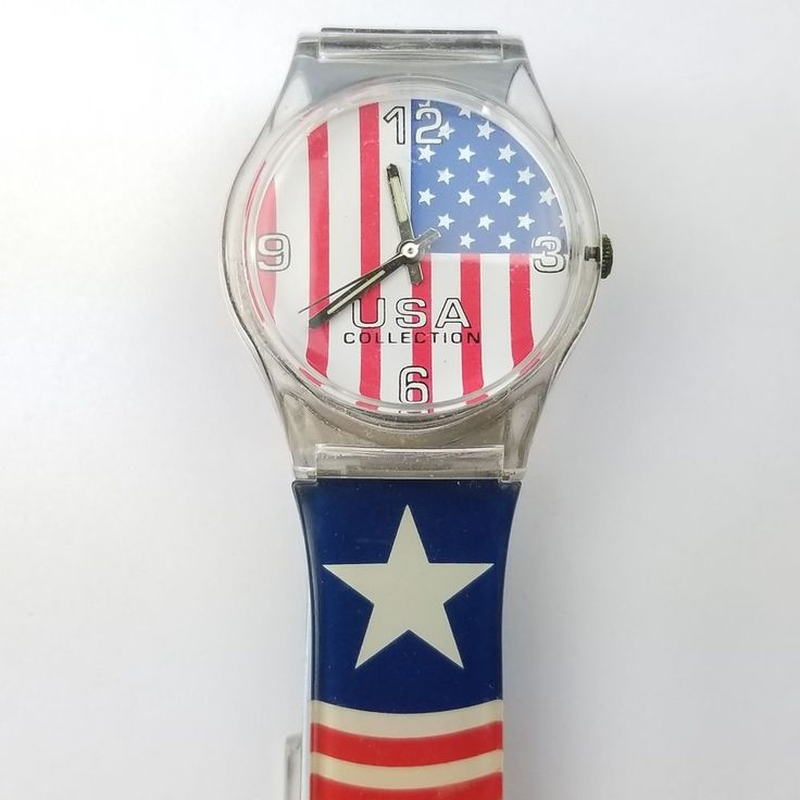 Patriotic Watch USA Collection Analog American Flag Stars Stripes Red White Blue Olympic Independence Day 4th Of July #Fada #Sport