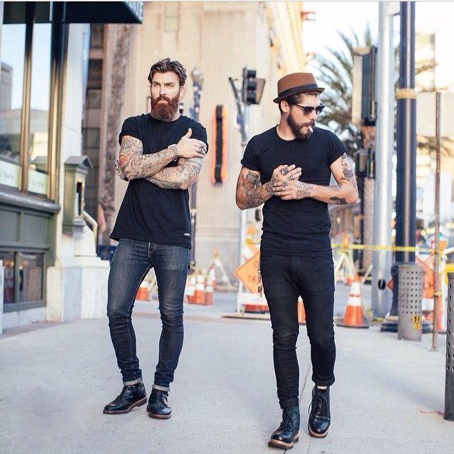 Beard black jean boots