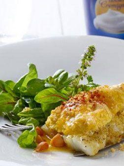Zander mit Curryjoghurt gratiniert, Spinatsalat und Macadamianüssen