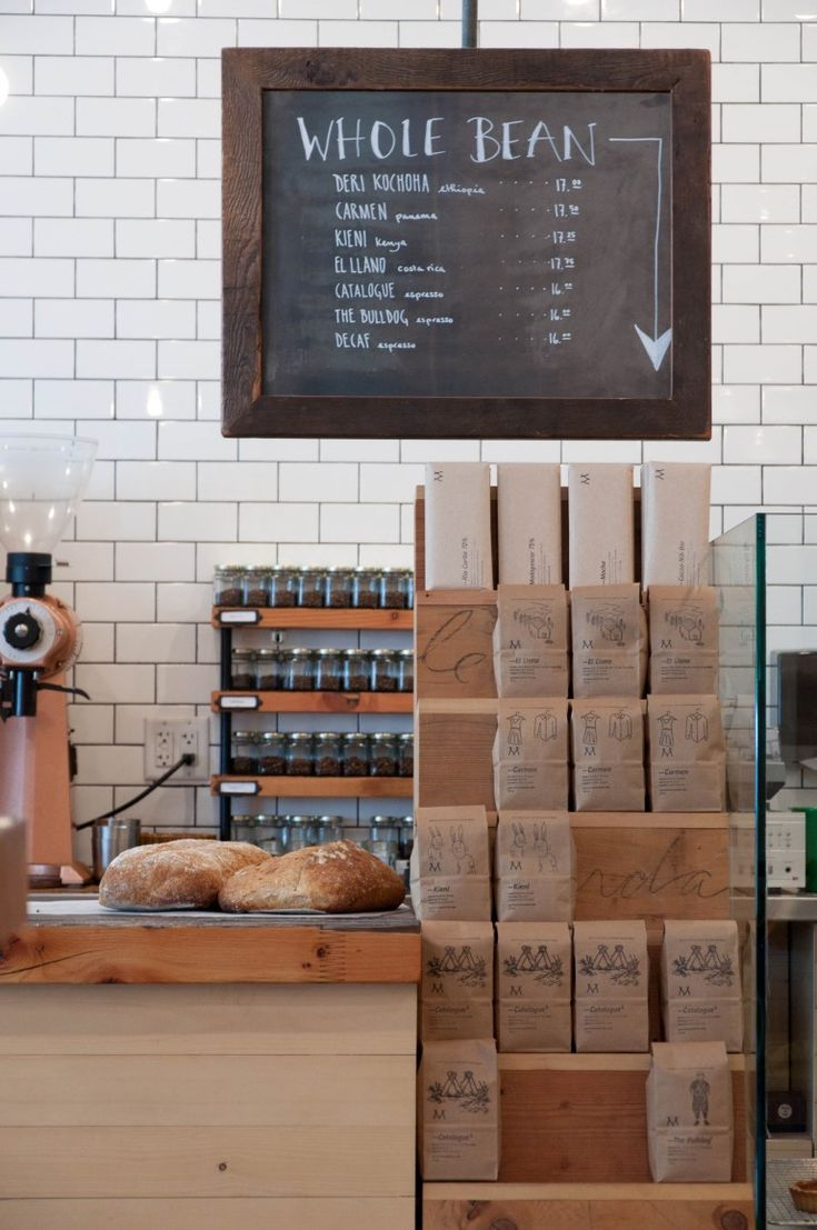 Matchstick Coffee | Vancouver, whole bean packaging, branding, brown paper style, shop and retail interior idea