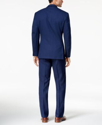Marc New York by Andrew Marc Men's Classic-Fit Blue Tonal Plaid Suit - Blue 44L