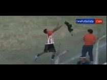 INFURIATING~José Jiménez, a player for Argentina's lower league Bella Vista soccer team, felt the wrath of outraged fans who witnessed him treat a stray dog, who intruded on a game, in a blatantly cruel manner, reported Tuesday's Fox News Latino. The dog wandered onto the field, Jiménez decided to get rid of the canine himself. Rather than leading the pup, who appeared to be quite submissive,off the field, he grabs the dog by the neck, walks over to the metal fencing to throw him over.