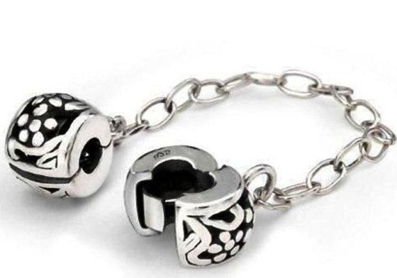 Sterling silver charm bracelet safety chain