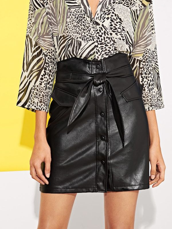 8c105b51526d2 Button Up Faux Leather Skirt With Belt -SHEIN(SHEINSIDE ...