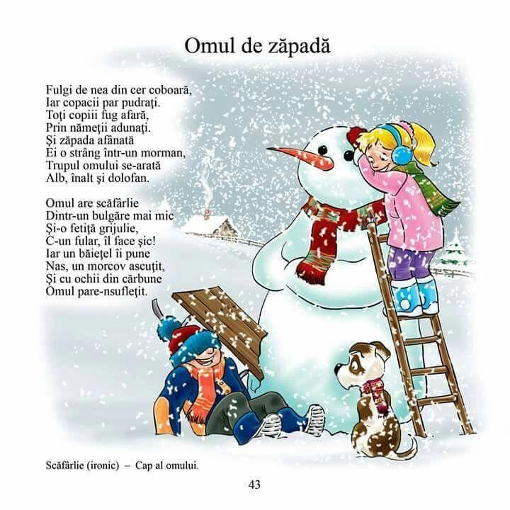 Omul de zăpadă poezie copii