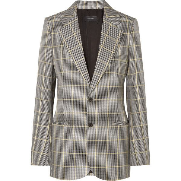Joseph Grimaud Prince of Wales checked cotton blazer ($945) ❤ liked on Polyvore featuring outerwear, jackets, blazers, grey, cotton blazer, grey blazer jacket, cotton jacket, grey cotton blazer and gray blazer