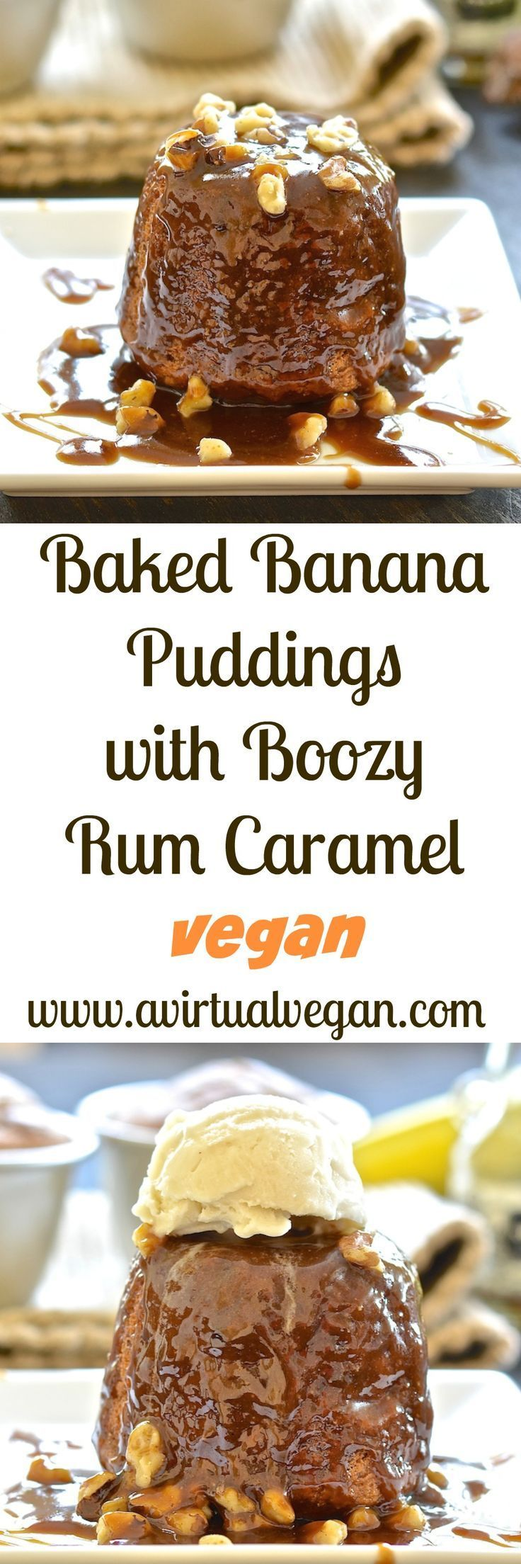Deliciously moist & flavourful baked banana puddings with a spoon-licking, boozy, rum caramel sauce. Rich, sticky & truly indulgent! #vegan #dairy-free #egg-free #rum #pudding #banana