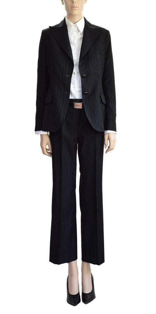 Vintage Suits Ann Klein Black Wool Pinstipe by HudsonFlowVintage