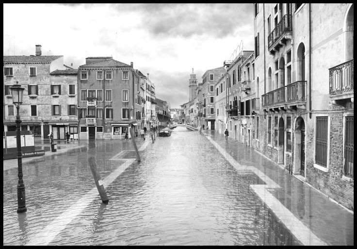 View of Campo San Barnaba with Acqua alta (high water), Venice.  Unlimited edition. Printed on Fine Art Paper 50 x 70 (Paper size)  Signed by Fabio Bressanello