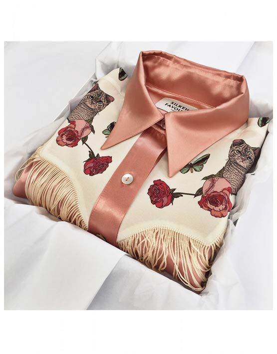 SILK COWBOY SHIRT  100% silk shirt  Mother of Pearl buttons  relaxed shape  Dry Clean Only  Made in Britain  PRE ORDER - DELIVERY 4 -5 WEEKS