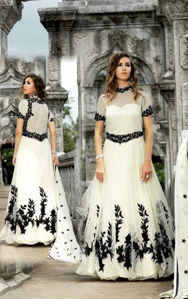 Glamorous Off White Designer Anarkali Suit