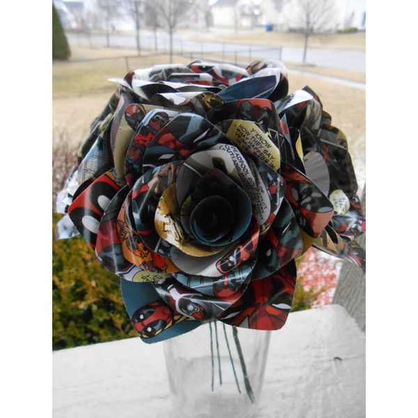 6 Deadpool Comic Book Roses or Choose Your Comic Wedding Birthday... ($32) ❤ liked on Polyvore featuring floral arrangements, grey, home & living and home décor