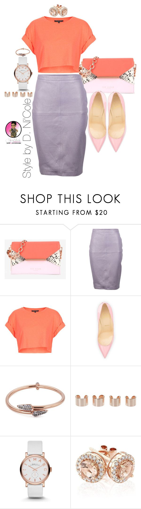"""Untitled #2389"" by stylebydnicole ❤ liked on Polyvore featuring Ted Baker, VIPARO, Topshop, Christian Louboutin, Katie Rowland, Maison Margiela, Marc by Marc Jacobs and Reeds Jewelers"