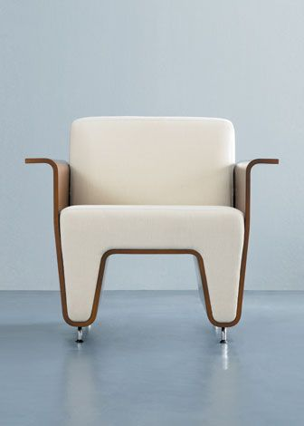 Waltz chair in polished aluminum and molded plywood by OFS