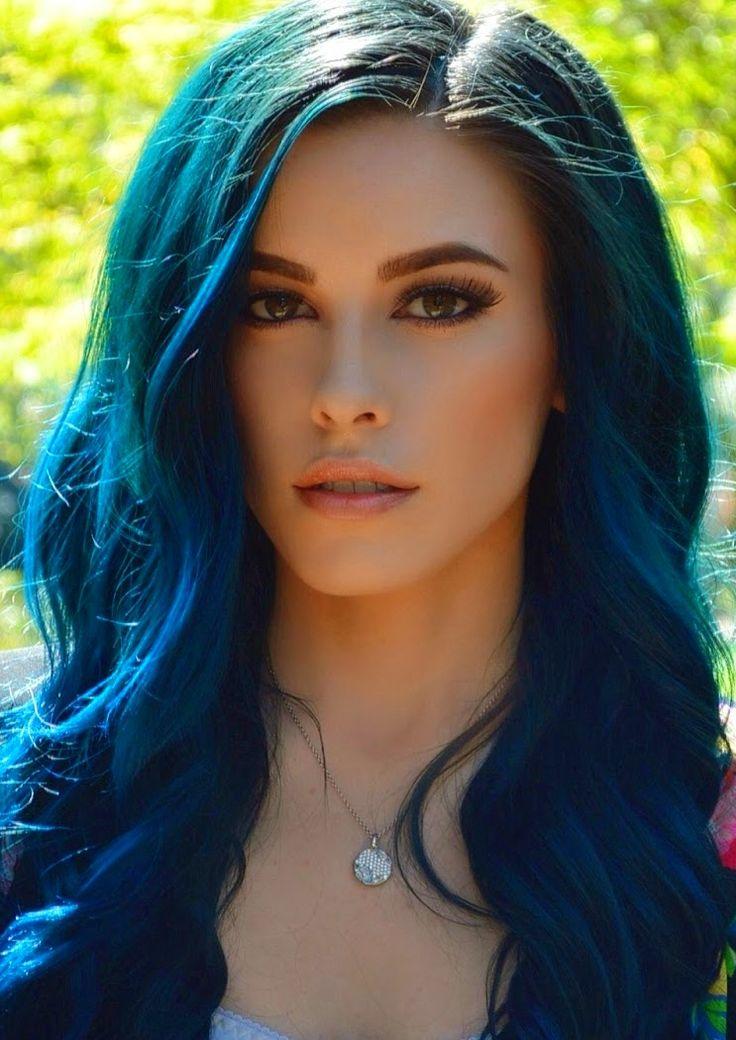 Dark blue dyed hair color